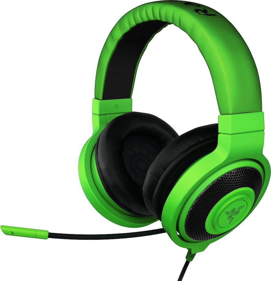 Green headphones PNG image