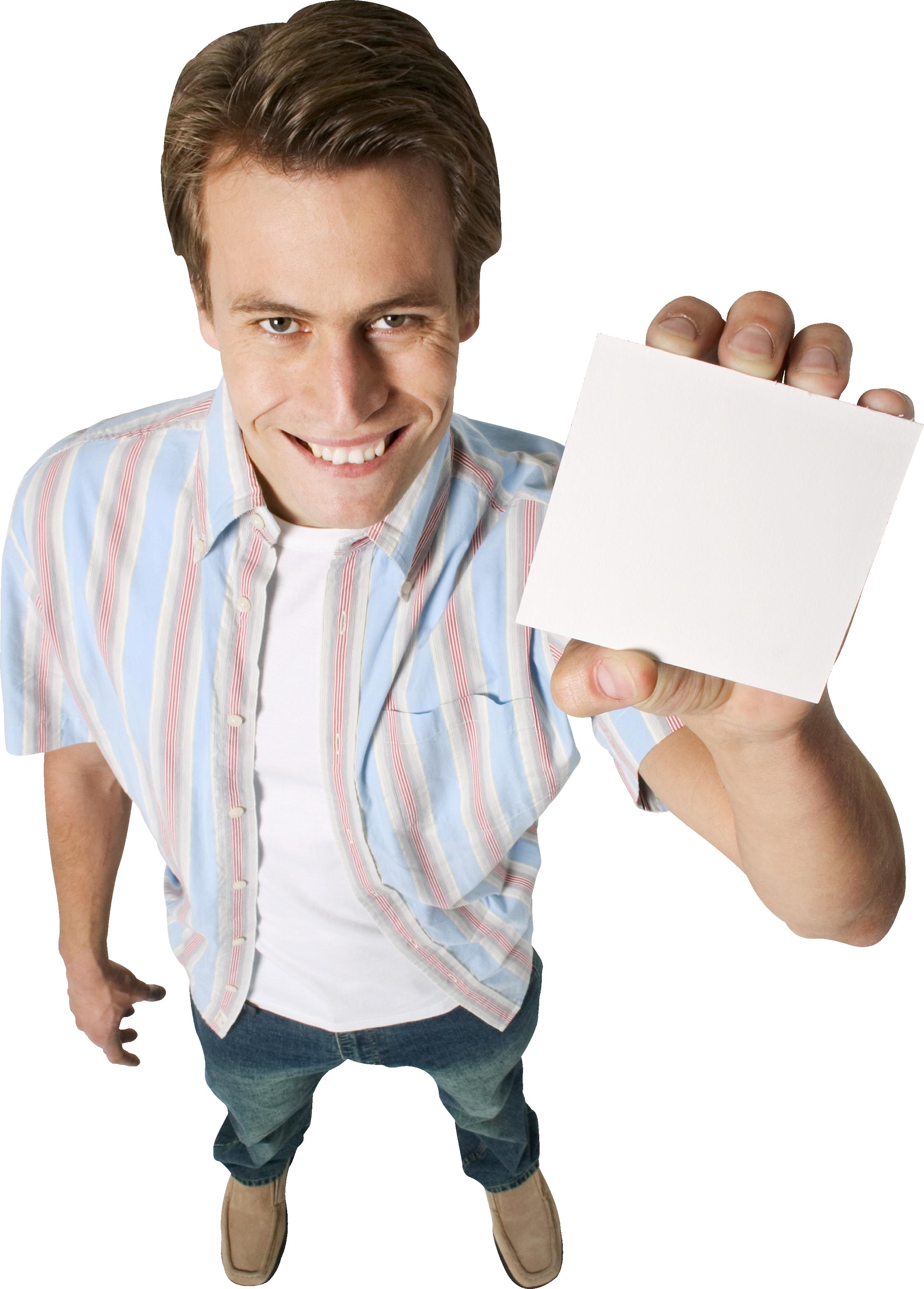 Мужчина с плакатом PNG фото