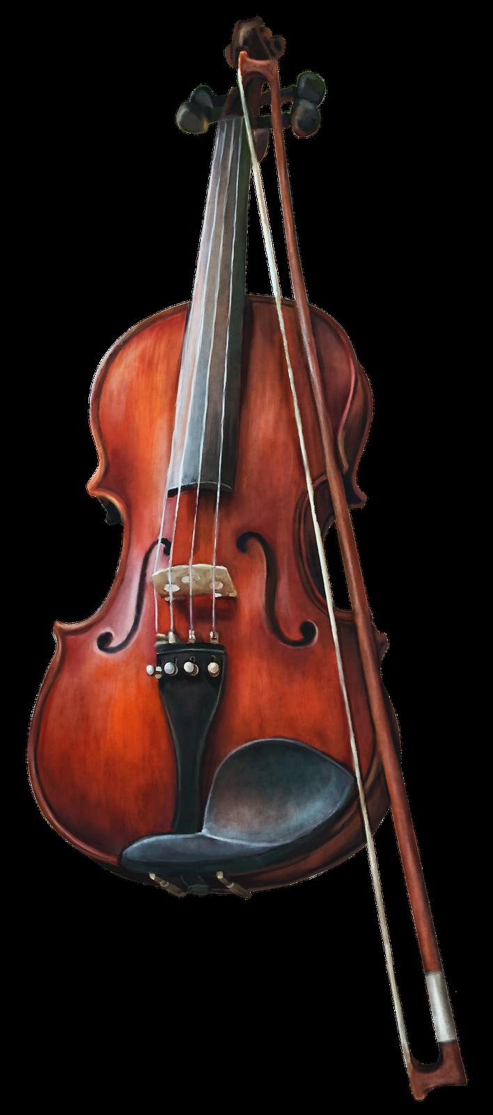 Скрипка и смычок PNG