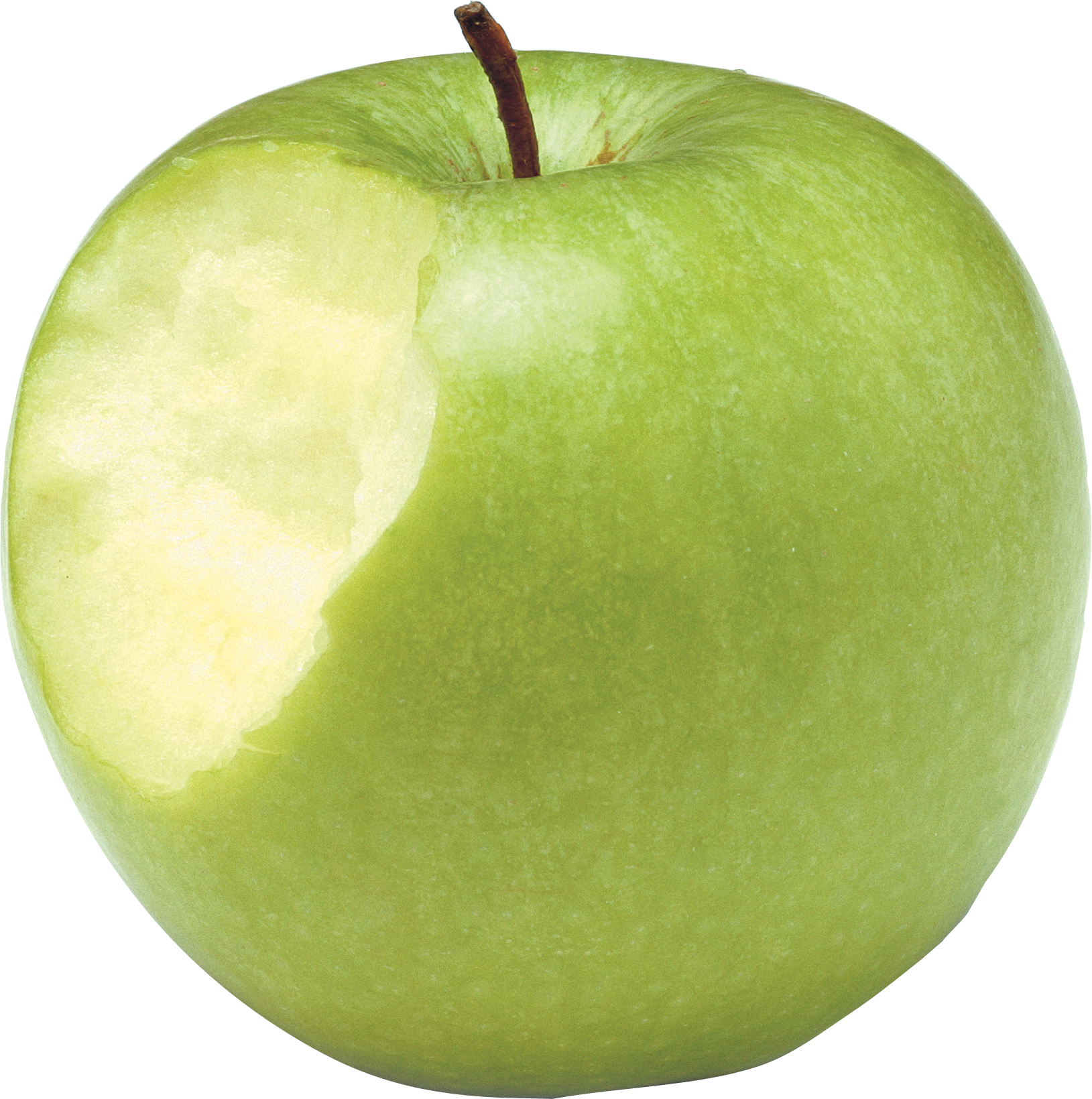 Bitten green apple PNG