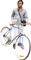 Man with bicycle PNG image