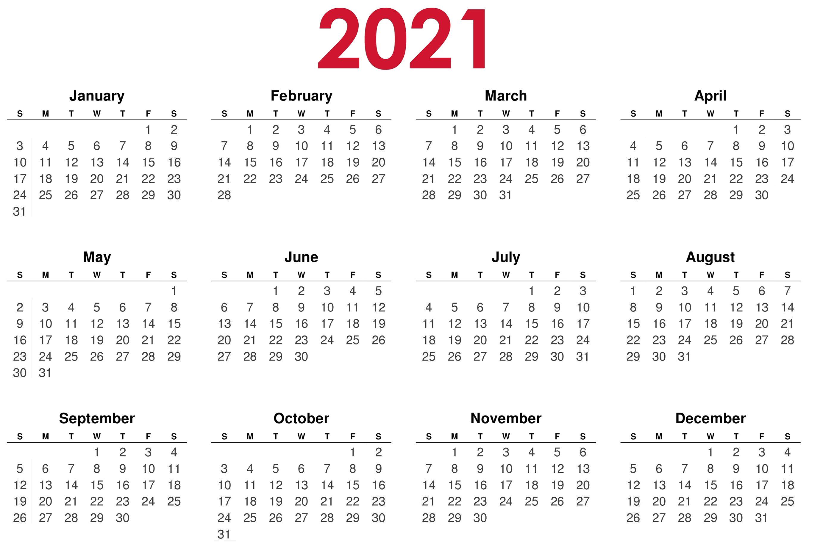 Calendar 2021 year PNG