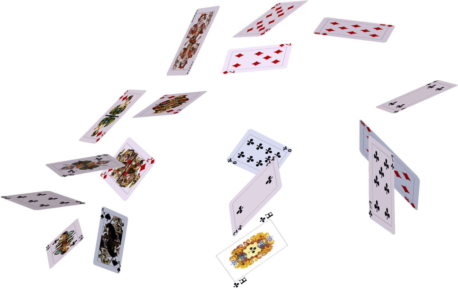 Flying cards PNG