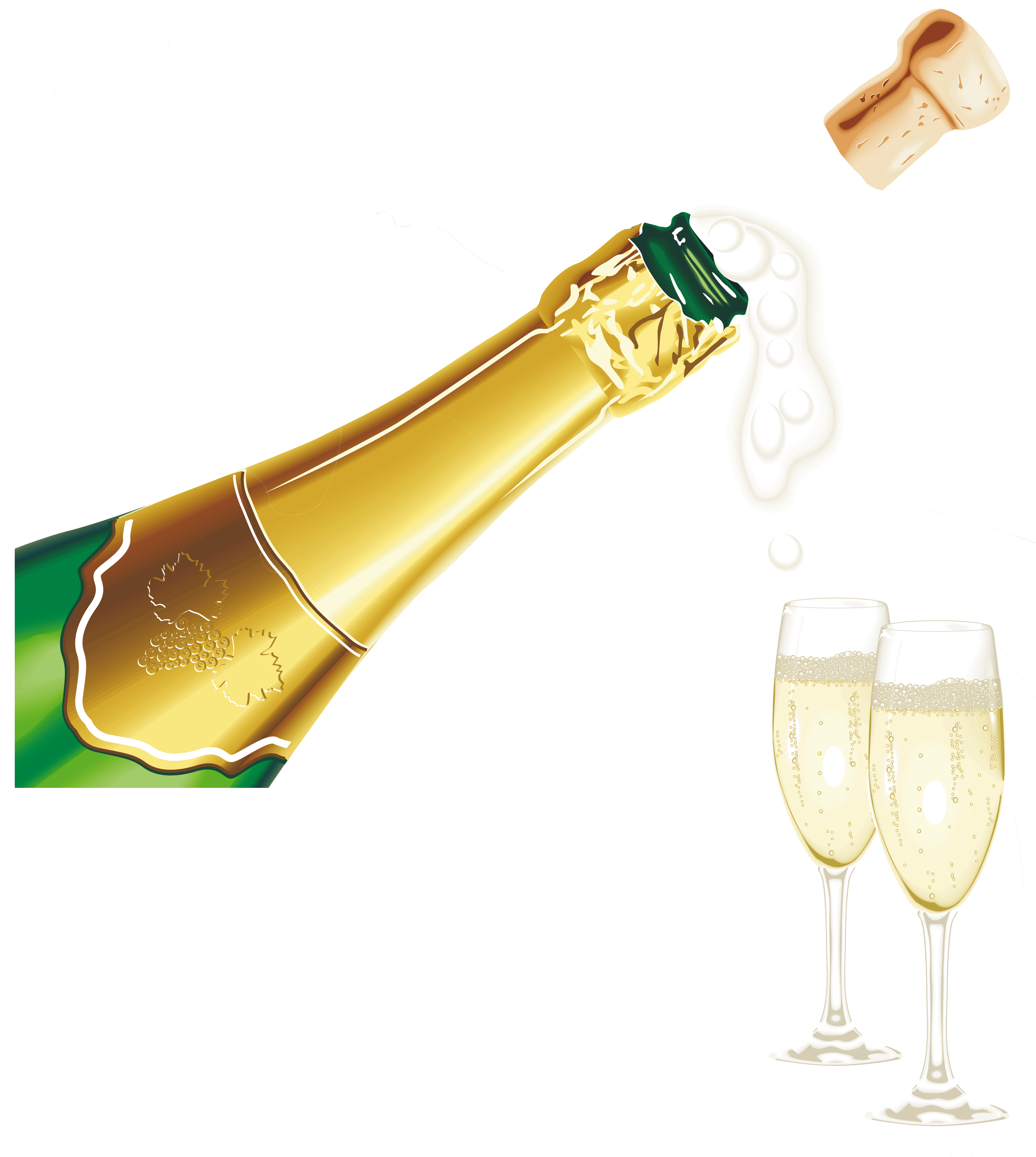Champagne popping PNG