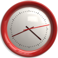 Red wall clock PNG image
