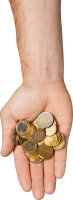 Coins in hand PNG image