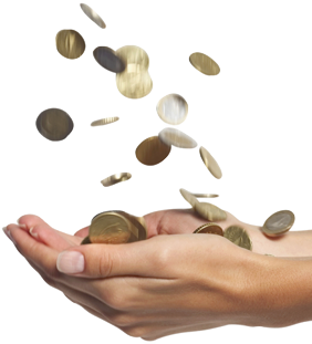 Falling money in hand PNG