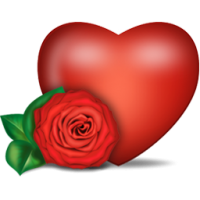 Heart and rose PNG image, free download