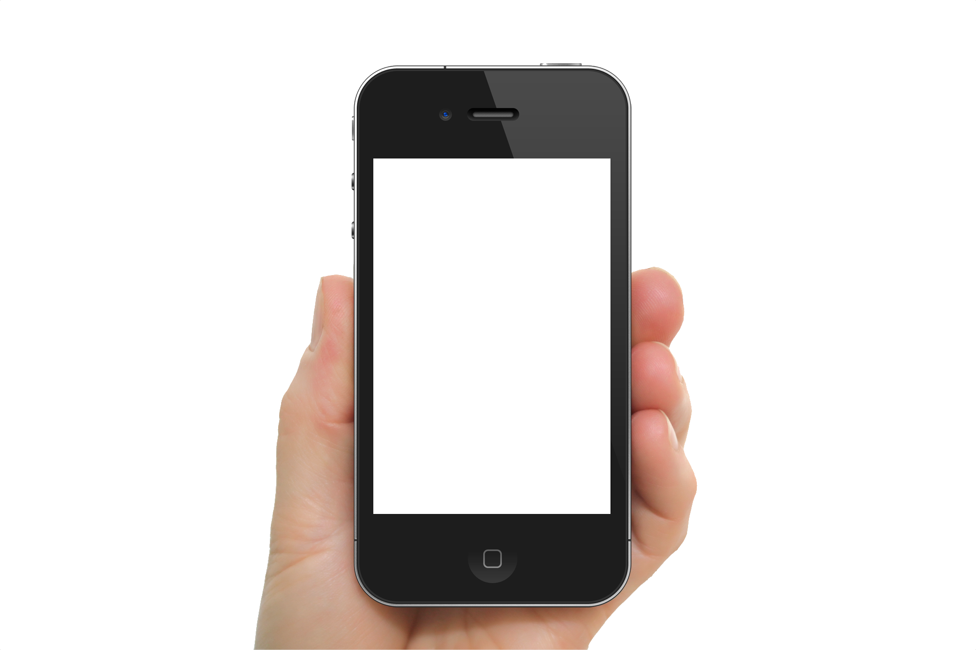 Black Iphone in hand transparent PNG image