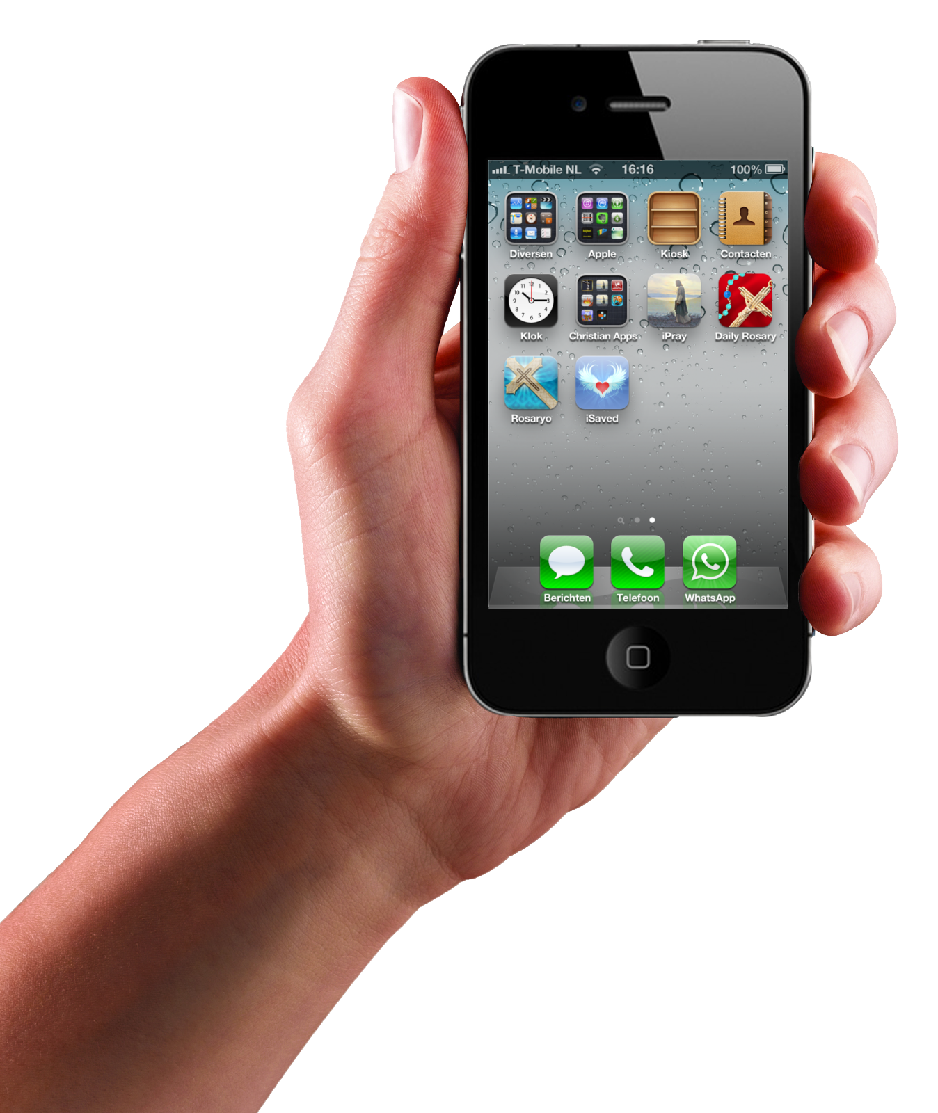Iphone in hand transparent PNG image