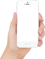 white Iphone in hand transparent PNG image