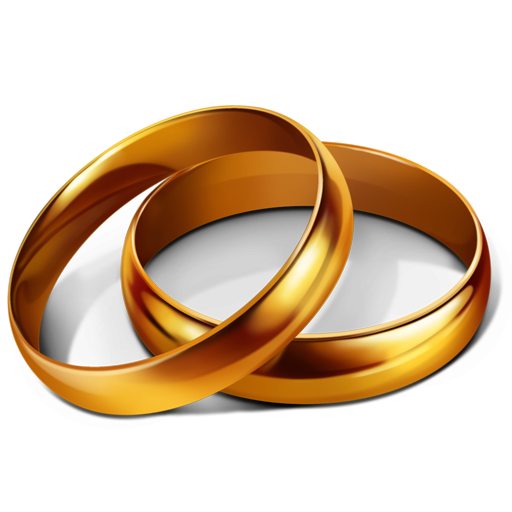 Wedding golden rings PNG image