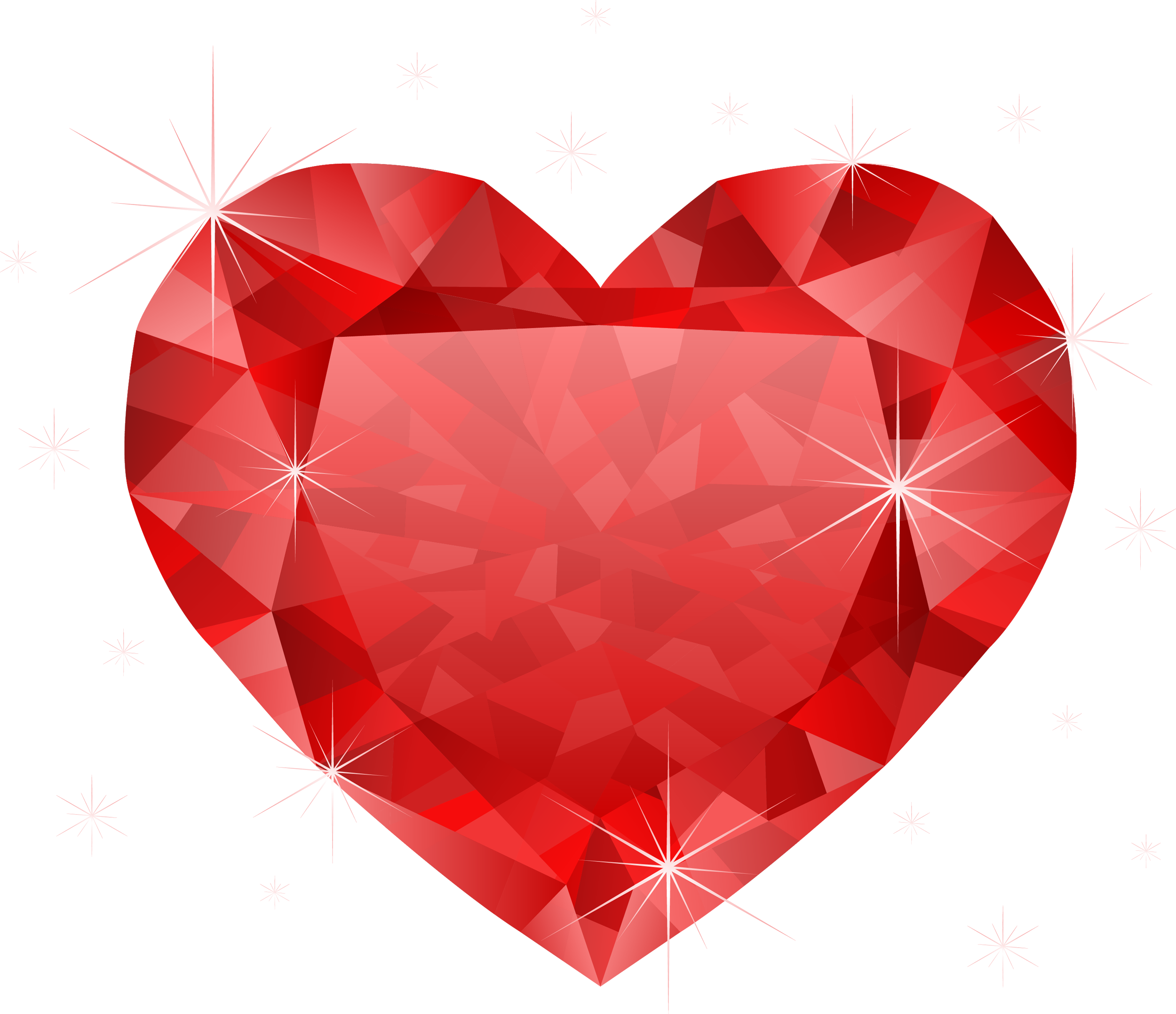 Diamond red heart PNG