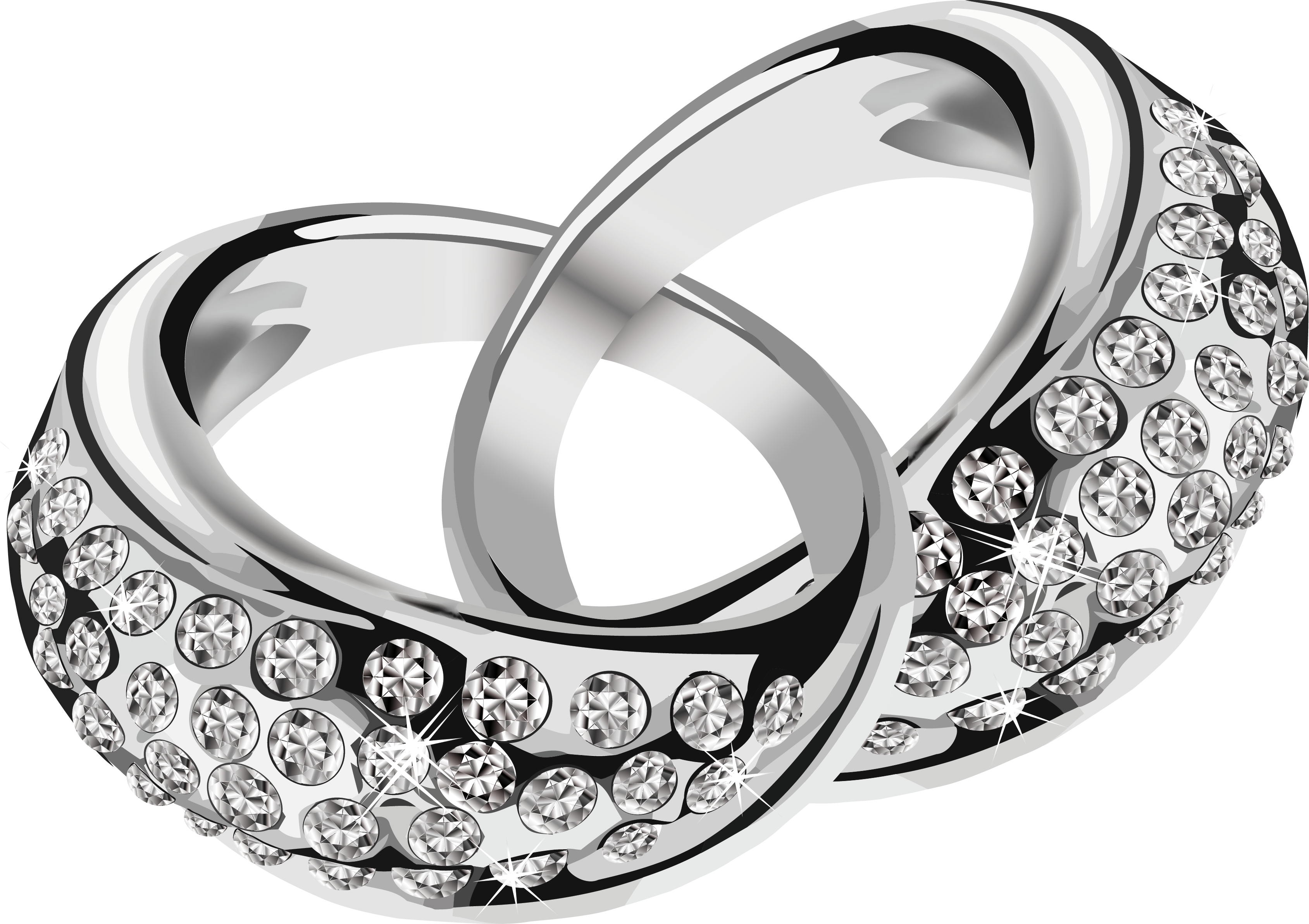 silver rings with diamonds PNG