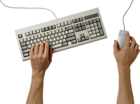 Hands on keyboard PNG image
