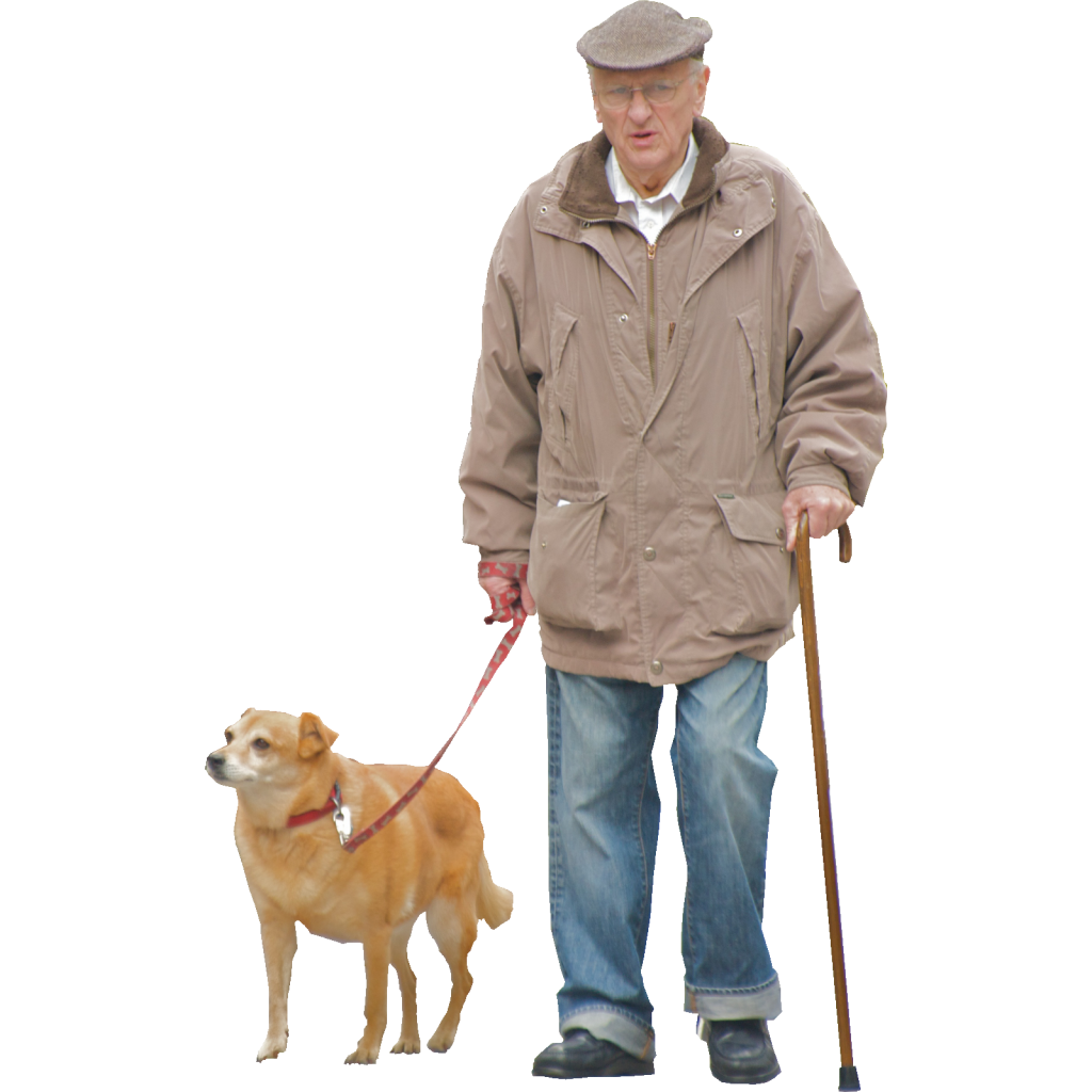 Man and dog PNG image