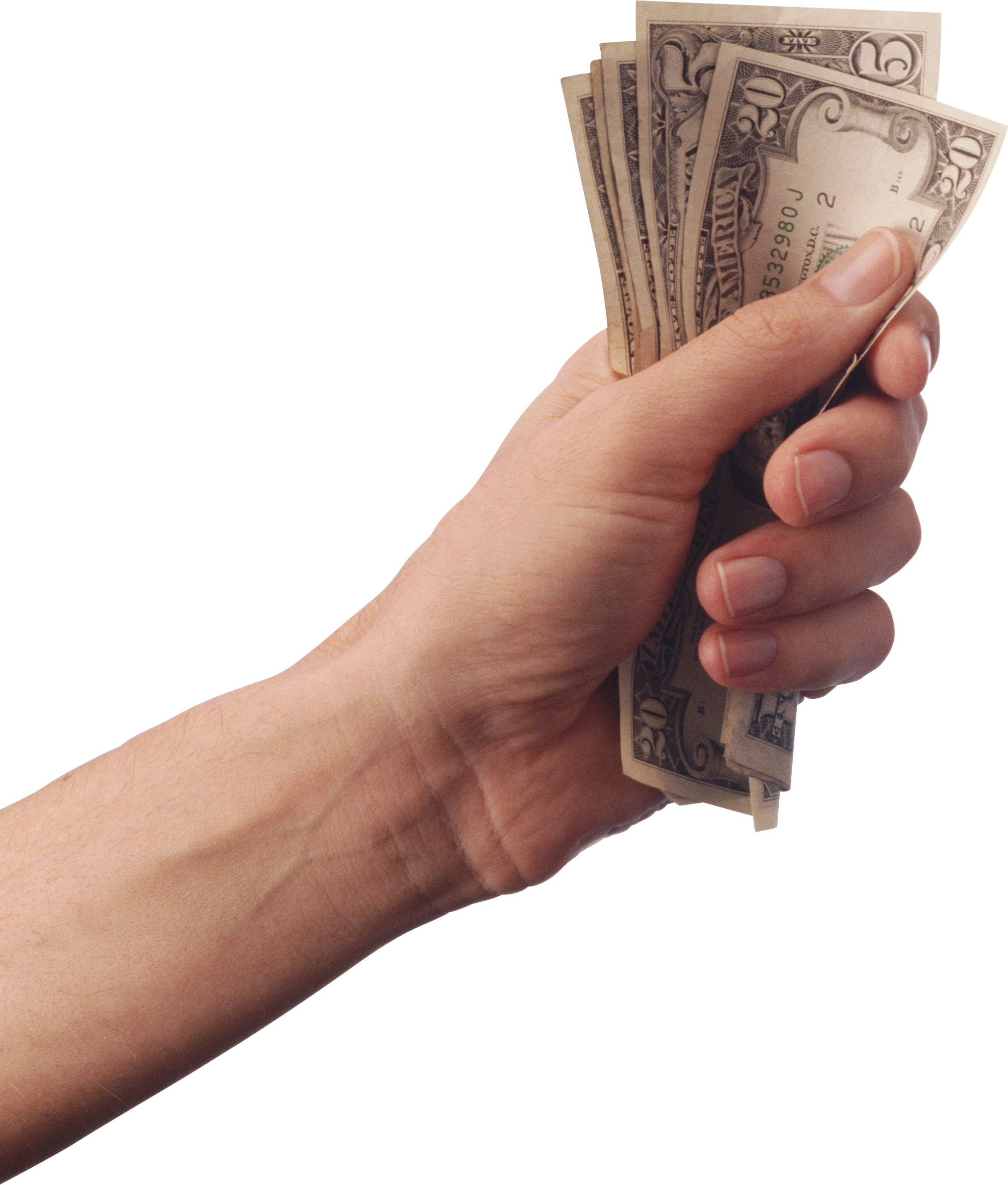 Money dollars in hand PNG image