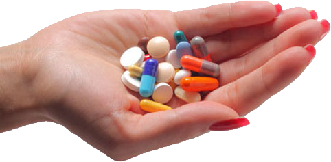 Pills in hand PNG