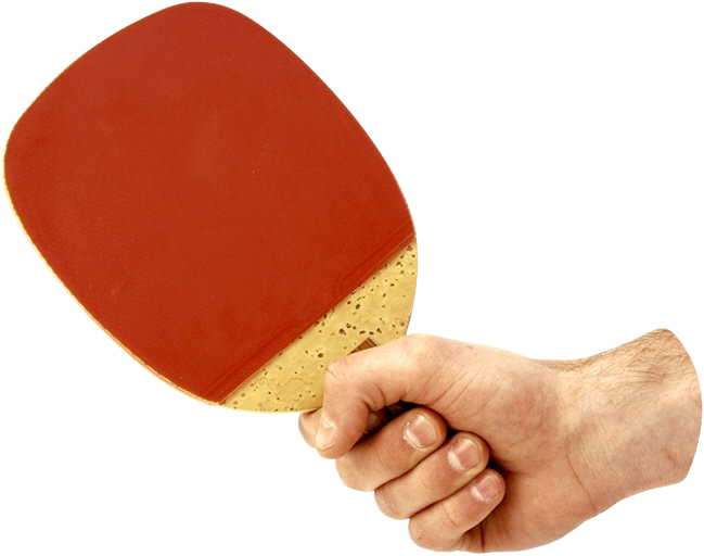 Ping Pong racket in hand PNG image
