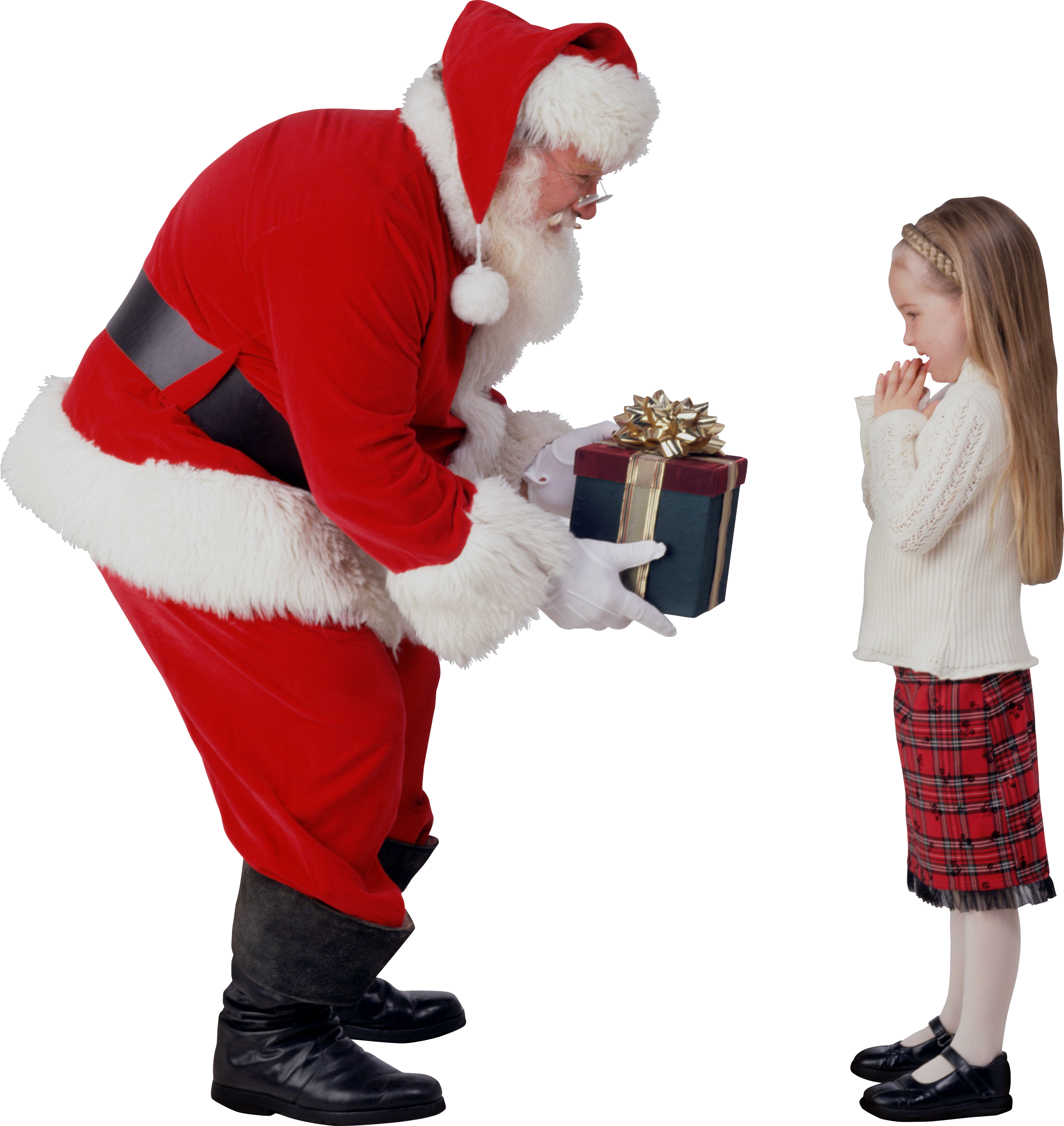 Santa Claus and girl PNG image