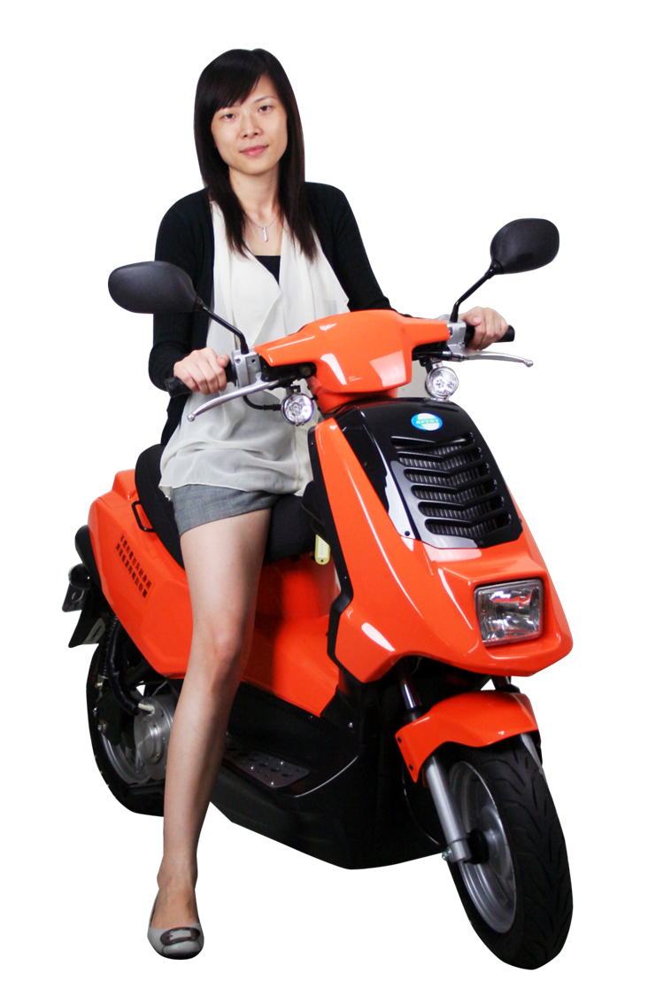 Girl on scooter PNG image