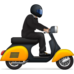 Man on scooter PNG image