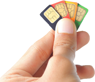 Sim cards in hand PNG image