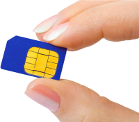 SIM card in hand PNG