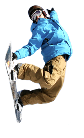 Man on snowboard PNG image