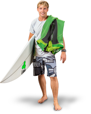 Man with surfing board PNG image