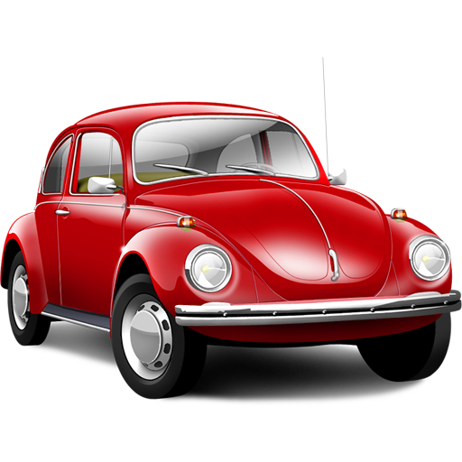 Red old Volkswagen Beetle PNG car image